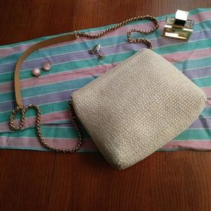 Talbots Bags - Talbots Front Flap Crossbody Bag Leather Straw VTG